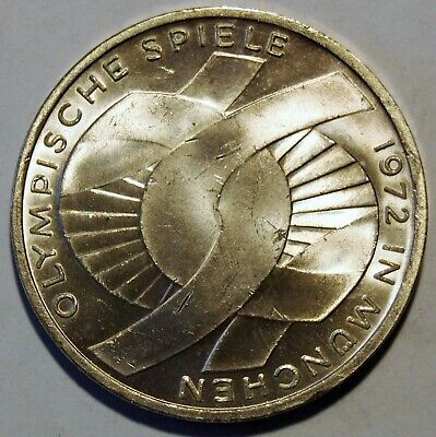 1972 'F' - Germany - Munich Olympic Games 10 Mark Silver coin - Nice Grade