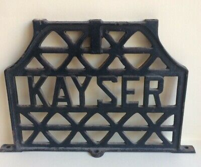 Vintage industrial cast iron decor from early Kayser sewing machine - USED