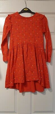 Outfit Kids Girls Age 4-5 Years Orange Ditzy Print Ruffle Dipped Hem Tunic Top