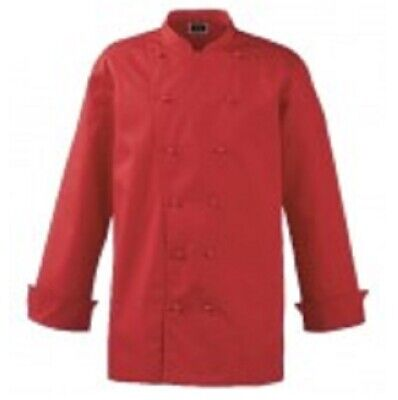 "52"" Red Mens Ladies Unisex Deluxe Chef Jacket Long Sleeve Simon Jersey Uniform"