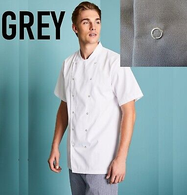 Grey Unisex Mens Woman Chef Jacket Short Sleeve Simon Jersey Uniform Coat