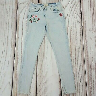 Girls Kids NEXT Light Blue Skinny Embroidered Jeans Raw Hem 13 Years