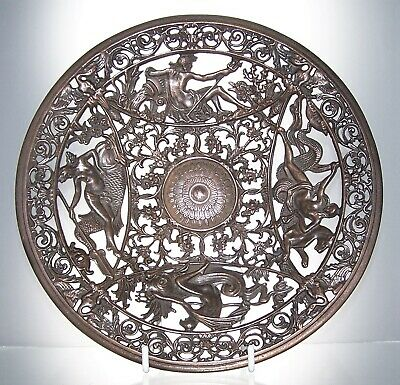 Large Antique Mid 19th Century COALBROOKDALE Cast Iron Decorative Plate 20.5 cm