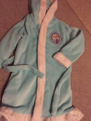 Girls Frozen Blue & White Dressing Gown Age 8-9 Years By TU