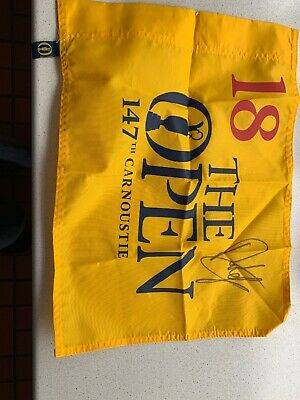 Genuine 2018 The Open 147th Golf Pin Flag Carnoustie SIGNED BY PLAYER