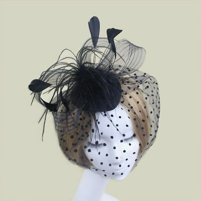 Feather Cocktail Hat Hairpins Party Hair Clip French Mesh Hair Band Mask Cute