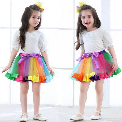 Girl Layered Rainbow Tutu Dance Skirt Rave Party Ballet Dance Ruffle Tiered