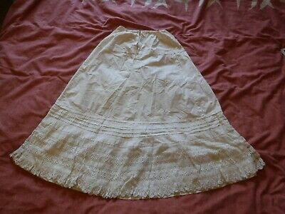 Antique White Silk / Lace Victorian Petticoat Skirt Vintage Small