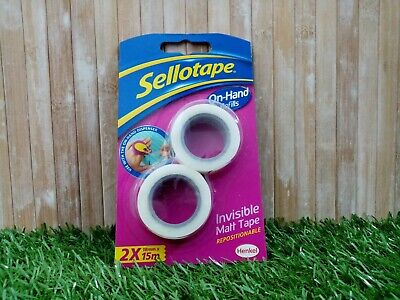 Sellotape On-Hand Refills 2 Invisible Clear Matt Tape Rolls 18mm x 15m | 2 Pack