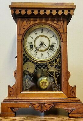 "Antique Oak Waterbury Kitchen Shelf Parlor Mantle Clock ""WORKS"" Quite A Cutie!"