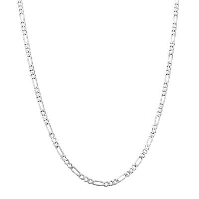 """Real Solid 10K White Gold Mens Womens 2.5mm Figaro Chain Pendant Necklace 22"""""""