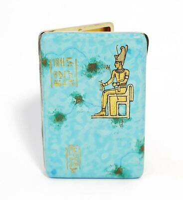 Stunning ART DECO ANCIENT EGYPT REVIVAL SILVER & ENAMEL CIGARETTE CASE c1925