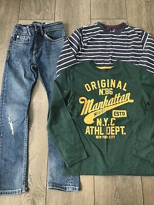 Boys Next Fashion Jeans And Rebel Tops X2 Outfit Age 9-10 Years