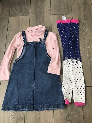 Girls Next Top And Pinafore Dress Outfit And Joules Tights Age 7-8 Years