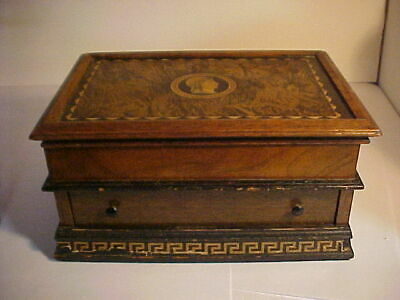 Victorian Sewing Work Writting Box Roman Soldier w drawer