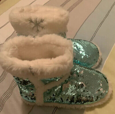 Disney Store Frozen2 Girls Slipper Boots Size 11/12 Reversable Sequins Worn Once