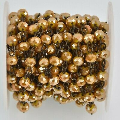 1 yard 6mm Crystal Rosary Chain, Mustard Yellow, bronze wire, rondelle fch1172a