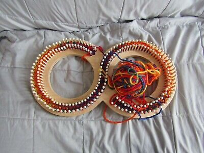 """ Infinity Knitting Board; Wooden Peg Serenity Loom with yarn"