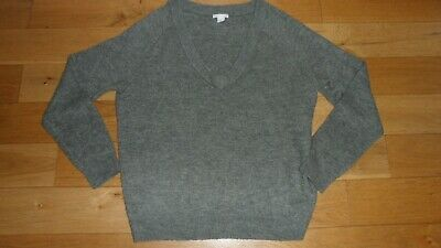 Fab Ladies H&M Light Khaki Green Low V Neckline Soft Woolly Jumper, UK Size M