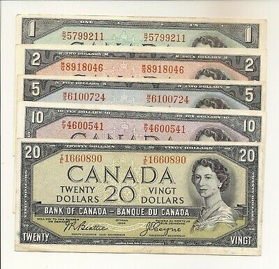 Canada 1954 Set Of 5 Notes $1, $2, $5, $10, $20. Modified Portrait Vf/Ef #890