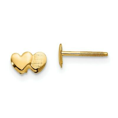 14K Rose And Yellow Gold Madi K Childrens 6 MM Cupid Heart Post Stud Earrings