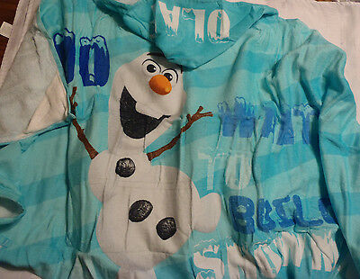 DISNEY Frozen Olaf Snowman Kids Blue Hooded Towel Cotton Swim Bath 25 x 50 NWT