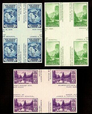 US Stamps: 768, 769, 770 Farley Blocks 4 w/ crossed gutters Mint,NGAI,NHM