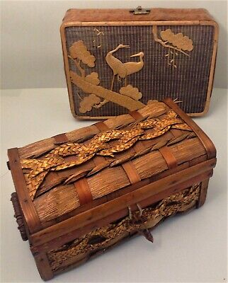 Two vintage Japanese bamboo & cane boxes