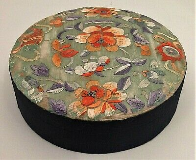 Antique Chinese silk hand embroidered storage/sewing box