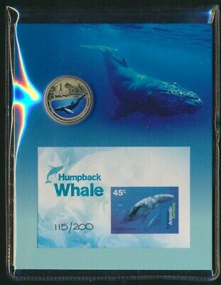 Australia 2013 $1 UNC Coin & Imperforate Mini Sheet - Humpback Whale Ltd Issue