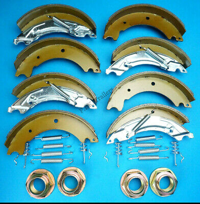 2 Axle Sets of 200x50 KNOTT Type Trailer Brake Shoes & NUTS LM105G IFOR WILLIAMS