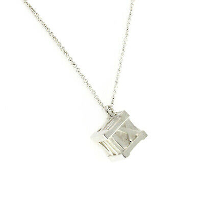 """Tiffany & Co Sterling Silver Atlas Large Cube 20 Grams Necklace Size 18"""" »U41"""