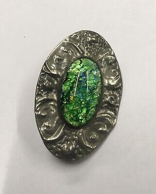 Vintage Antique Arts & Crafts Pewter Hand Made Brooch Blue Green Stone/Glass