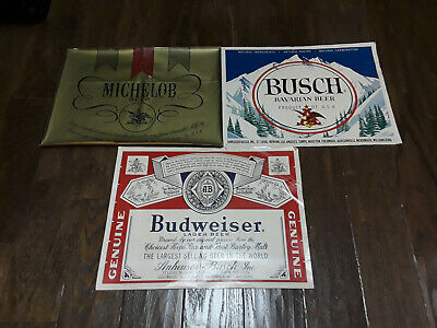 Michelob Gold Label - Budweiser Lager - Busch Bavarian - LARGE Peel-off Decals