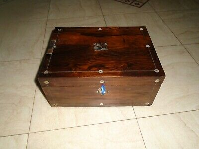 Antique Rosewood Mother Of Pearl Writing Box Sewing Box Stationery Storage Box
