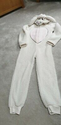 White And Pink Fluffy Rabbit all in one pj Age 9-10