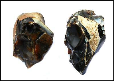 Paleolithic Achuelian Clactonian early man notched 2 pebble choppers British