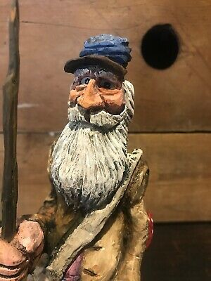 """Hillbilly Cowboy Redneck Character Figure Wood Carvings """"Guardin The Still"""""""