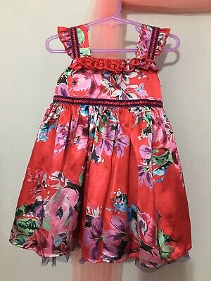 Cute Baby Girls M&S Red Floral Frill Sequin Trim Occasion Dress 12-18m❤️❤️