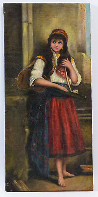 """OLD MASTER PAINTING, """"YOUNG MUSICIAN"""" LARGE OIL PAINTING, EARLY 19th CENTURY"""