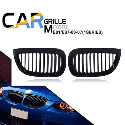 511 Matte BLACK KIDNEY GRILLES GRILL FOR BMW E87 1 SERIES 04-07