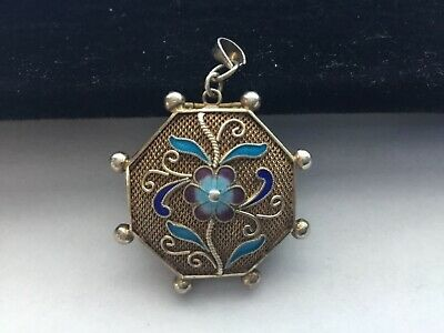 Vintage Chinese Sterling, Enamel Turquoise Filigree Locket Pendant No Res