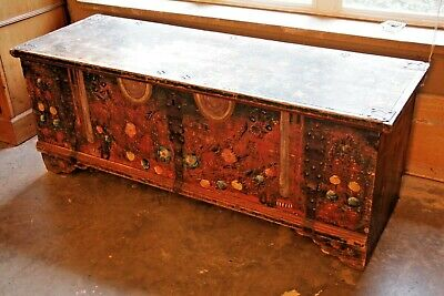 Antique Painted Wood Blanket Chest dated 1903 Iron Banding Handmade peg construc