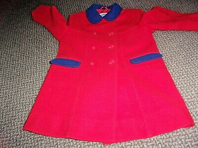 """Vintage """"Chilprufe"""" Fully lined Wool Coat Double Breasted Red with Navy Age 4"""