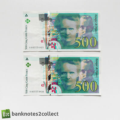 FRANCE: 2 x 500 French Franc Banknotes with Consecutive Serial Numbers.