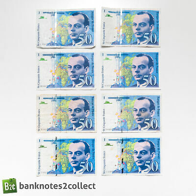 FRANCE: 8 x 50 French Franc Banknotes.