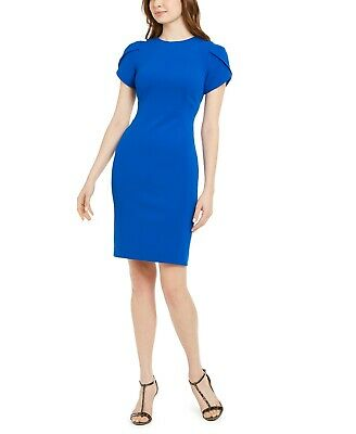 NEW Calvin Klein NWT Exquisite CAPRI Tulip-Sleeve Sheath Crepe Dress size 4
