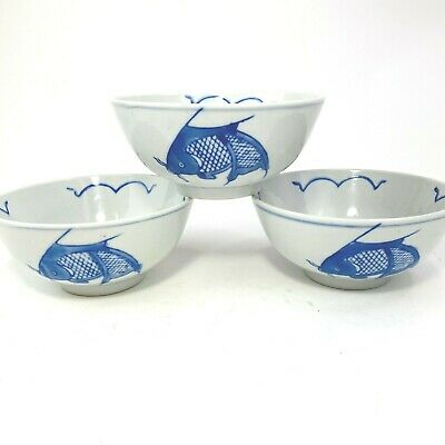 Vtg.~ Blue & White ~ Koi Fish Carp Rice Soup Bowls ~ Chinese Porcelain ~Set Of 3