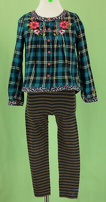 341 Catimini France girl outfit set plaid top striped leggings pants EUC 6