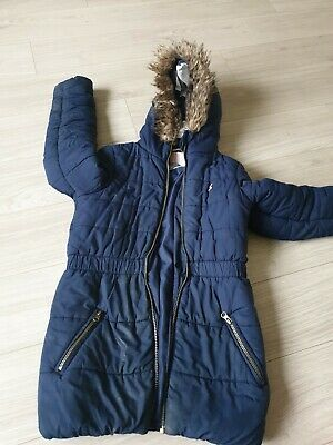 Joules Girls Navy Blue Padded Quilted Winter Coat Fur 9 - 10 Years